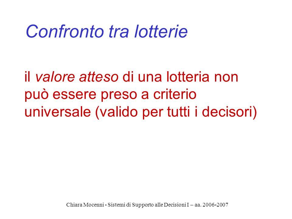 Chiara Mocenni - Sistemi di Supporto alle Decisioni I – aa. 2006-2007 Confronto tra lotterie il valore atteso di una lotteria non può essere preso a c