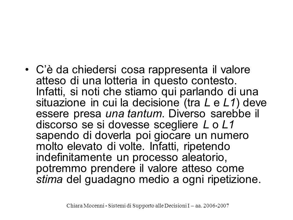 Chiara Mocenni - Sistemi di Supporto alle Decisioni I – aa. 2006-2007 Cè da chiedersi cosa rappresenta il valore atteso di una lotteria in questo cont