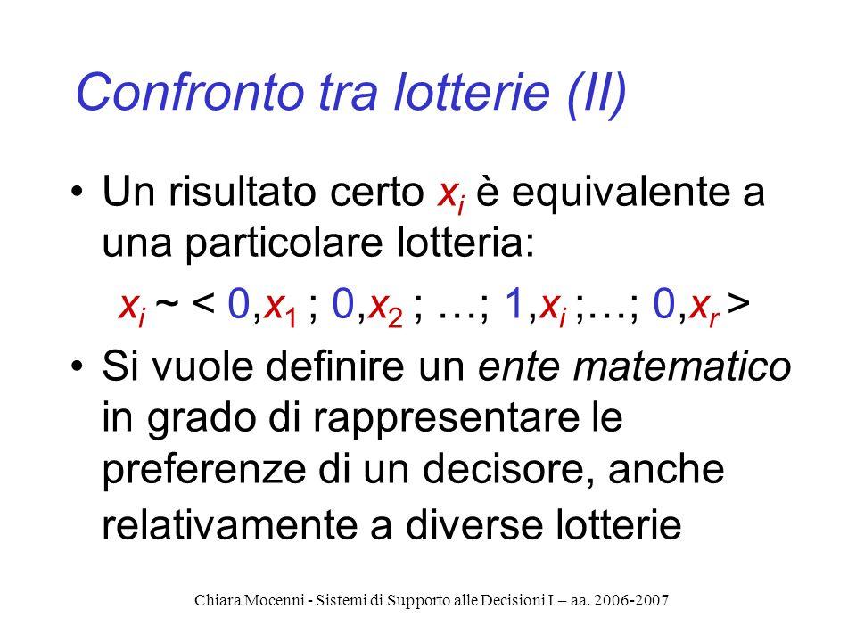 Chiara Mocenni - Sistemi di Supporto alle Decisioni I – aa. 2006-2007 Confronto tra lotterie (II) Un risultato certo x i è equivalente a una particola