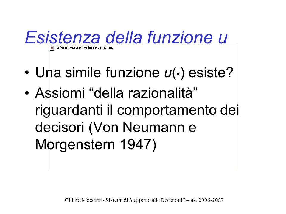Chiara Mocenni - Sistemi di Supporto alle Decisioni I – aa. 2006-2007 Esistenza della funzione u Una simile funzione u( ) esiste? Assiomi della razion
