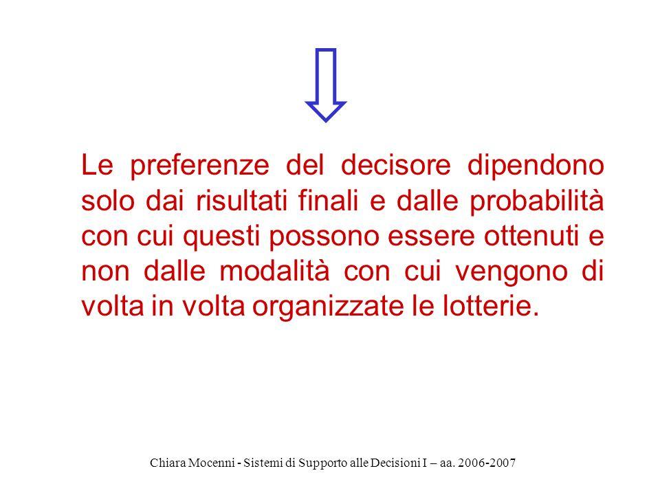 Chiara Mocenni - Sistemi di Supporto alle Decisioni I – aa. 2006-2007 Le preferenze del decisore dipendono solo dai risultati finali e dalle probabili