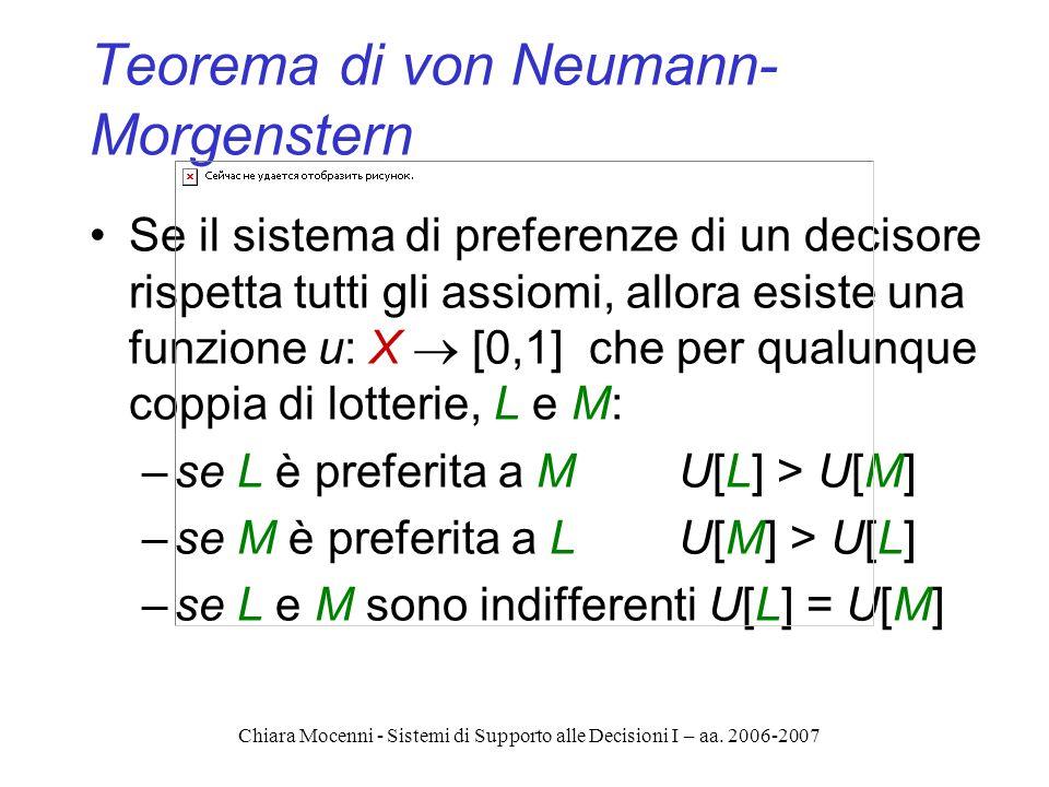 Chiara Mocenni - Sistemi di Supporto alle Decisioni I – aa. 2006-2007 Teorema di von Neumann- Morgenstern Se il sistema di preferenze di un decisore r