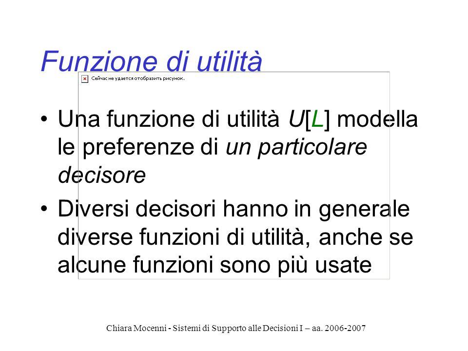 Chiara Mocenni - Sistemi di Supporto alle Decisioni I – aa. 2006-2007 Funzione di utilità Una funzione di utilità U[L] modella le preferenze di un par