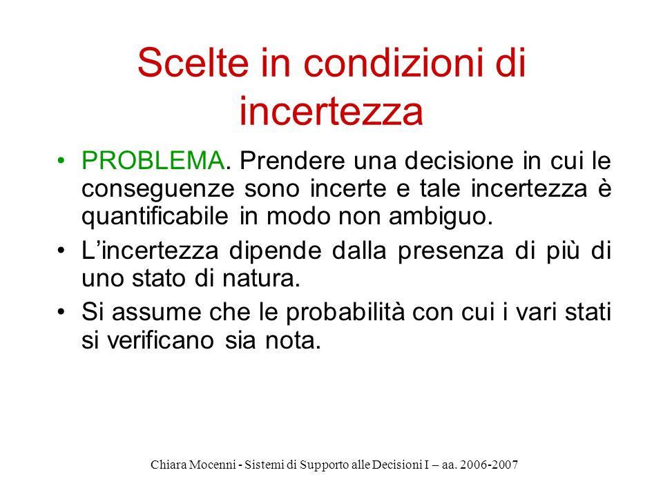 Chiara Mocenni - Sistemi di Supporto alle Decisioni I – aa. 2006-2007 Scelte in condizioni di incertezza PROBLEMA. Prendere una decisione in cui le co