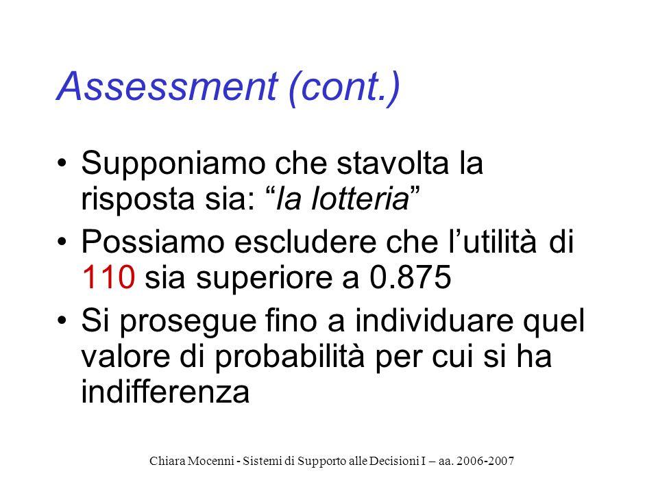 Chiara Mocenni - Sistemi di Supporto alle Decisioni I – aa. 2006-2007 Assessment (cont.) Supponiamo che stavolta la risposta sia: la lotteria Possiamo