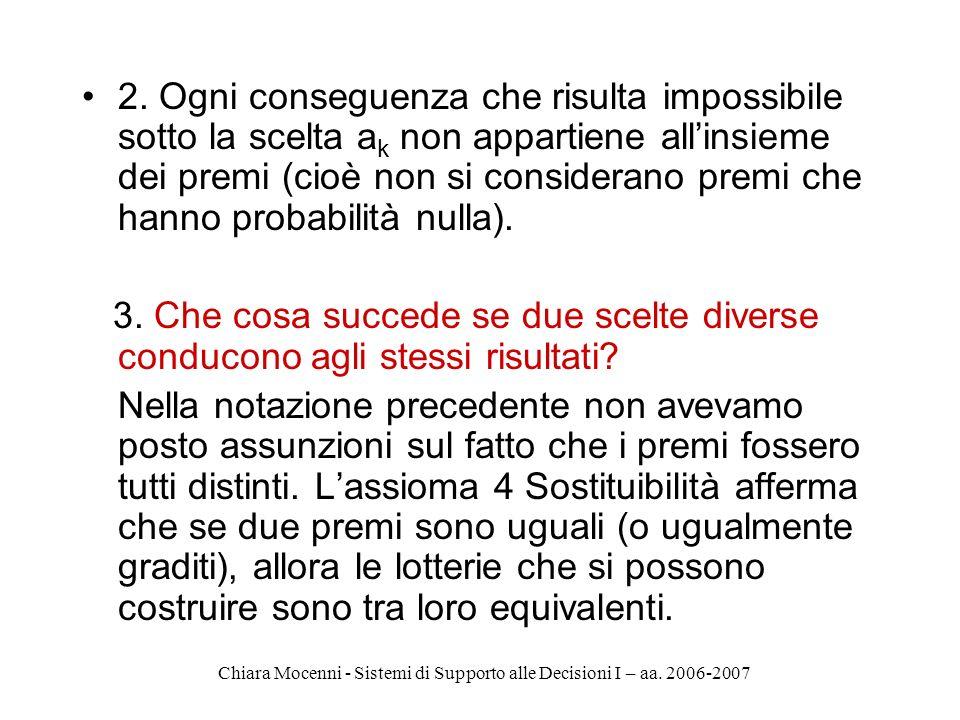 Chiara Mocenni - Sistemi di Supporto alle Decisioni I – aa. 2006-2007 2. Ogni conseguenza che risulta impossibile sotto la scelta a k non appartiene a