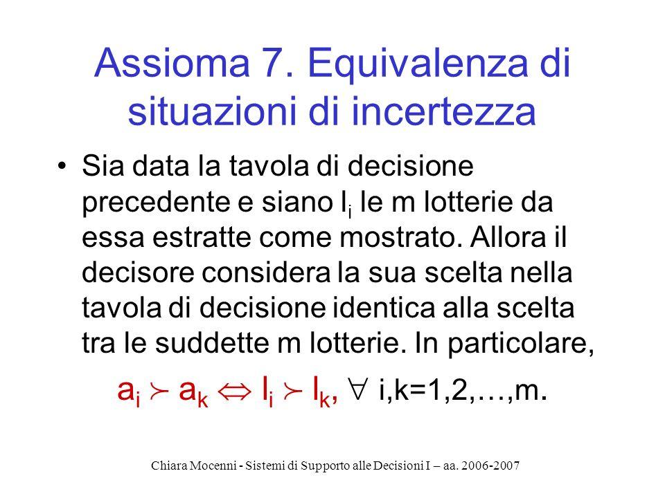 Chiara Mocenni - Sistemi di Supporto alle Decisioni I – aa. 2006-2007 Assioma 7. Equivalenza di situazioni di incertezza Sia data la tavola di decisio