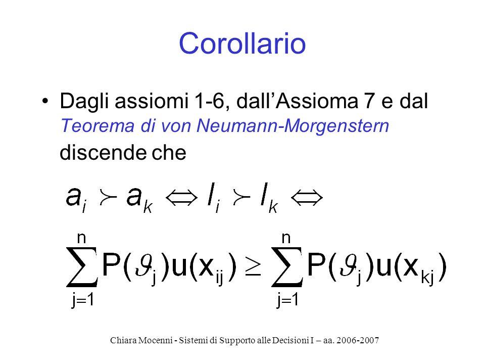 Chiara Mocenni - Sistemi di Supporto alle Decisioni I – aa. 2006-2007 Corollario Dagli assiomi 1-6, dallAssioma 7 e dal Teorema di von Neumann-Morgens