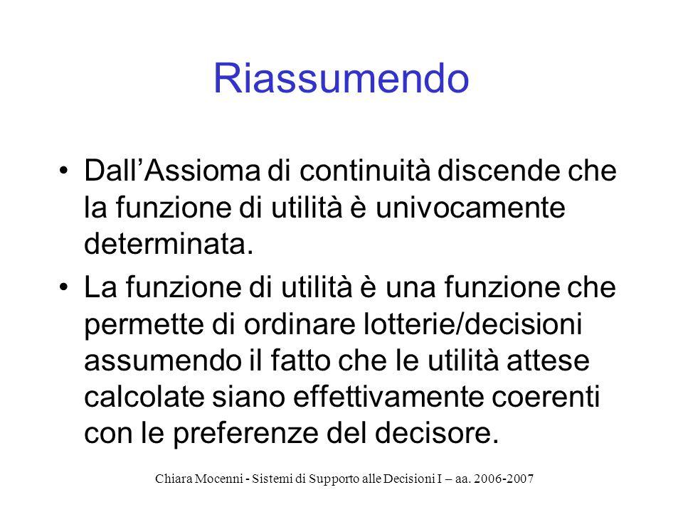 Chiara Mocenni - Sistemi di Supporto alle Decisioni I – aa. 2006-2007 Riassumendo DallAssioma di continuità discende che la funzione di utilità è univ