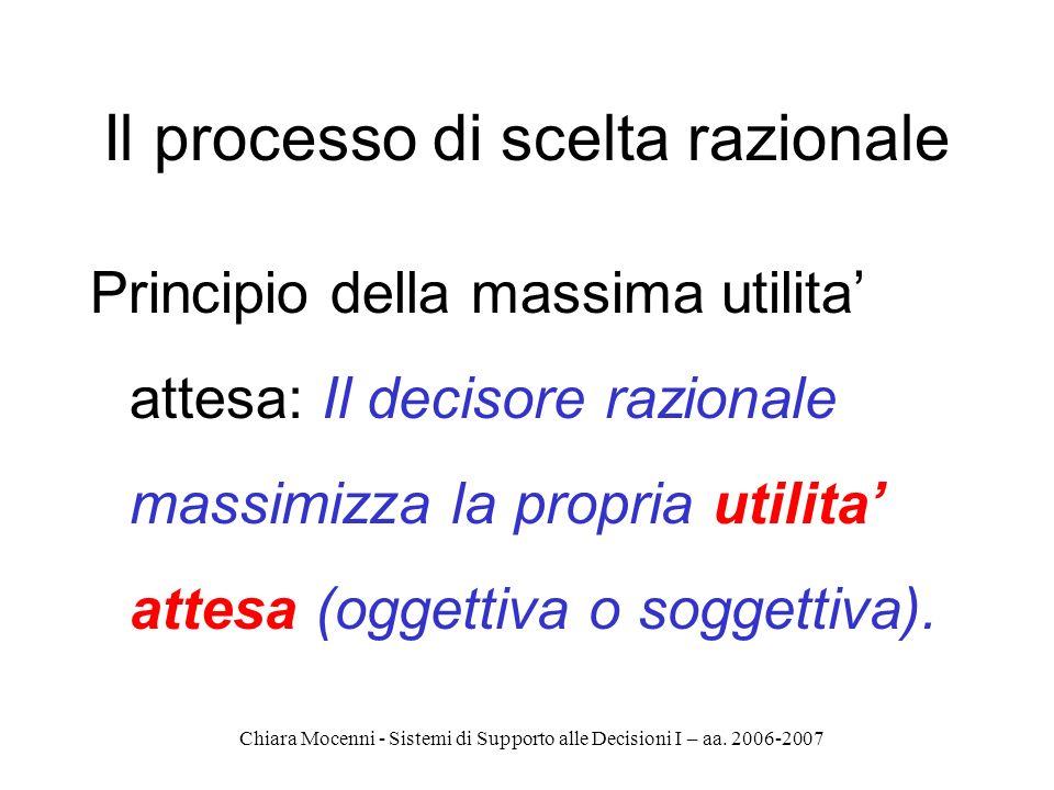 Chiara Mocenni - Sistemi di Supporto alle Decisioni I – aa. 2006-2007 Il processo di scelta razionale Principio della massima utilita attesa: Il decis