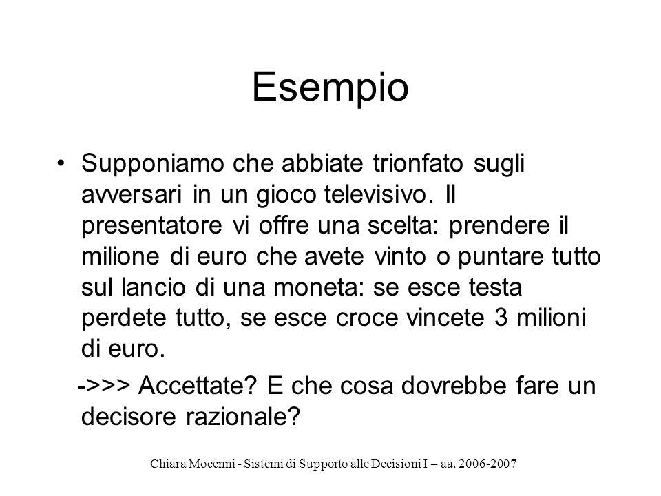 Chiara Mocenni - Sistemi di Supporto alle Decisioni I – aa. 2006-2007 Esempio Supponiamo che abbiate trionfato sugli avversari in un gioco televisivo.