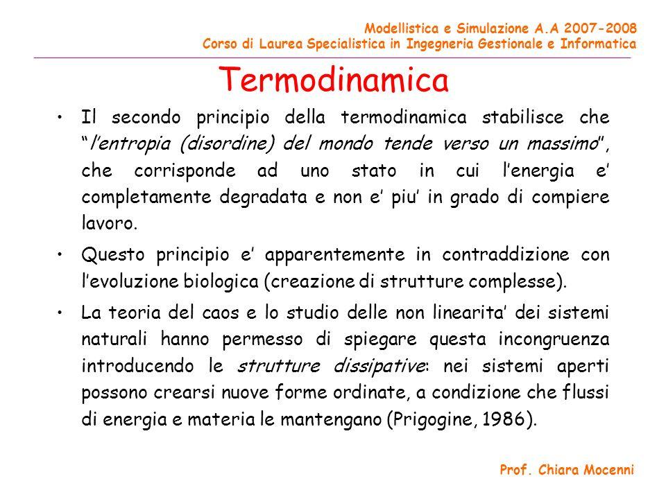 Modellistica e Simulazione A.A 2007-2008 Corso di Laurea Specialistica in Ingegneria Gestionale e Informatica ______________________________________________________________________________________ Prof.