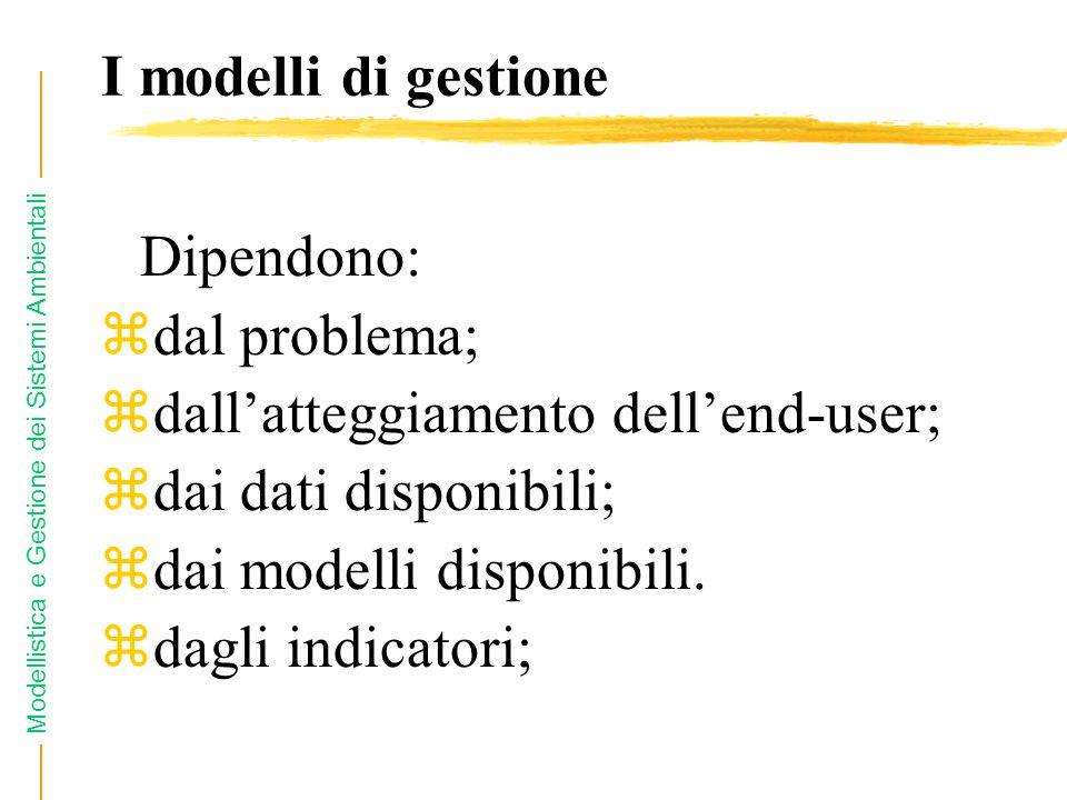 Modellistica e Gestione dei Sistemi Ambientali I modelli di gestione Dipendono: zdal problema; zdallatteggiamento dellend-user; zdai dati disponibili; zdai modelli disponibili.