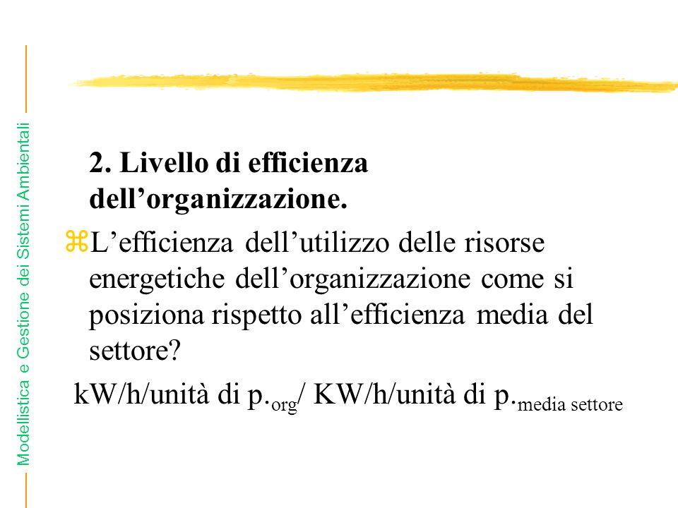Modellistica e Gestione dei Sistemi Ambientali 2. Livello di efficienza dellorganizzazione.