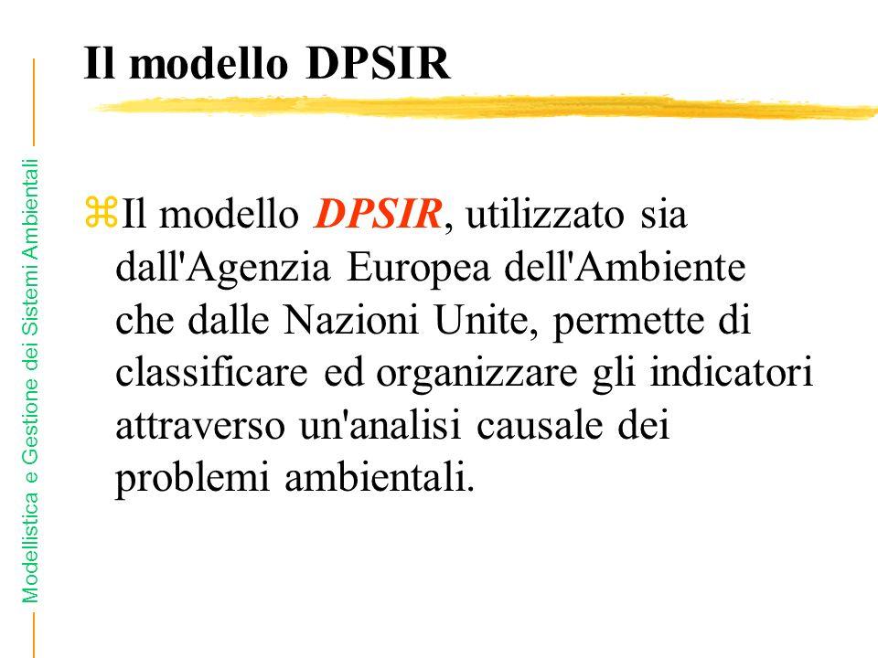 Modellistica e Gestione dei Sistemi Ambientali Il modello DPSIR zIl modello DPSIR, utilizzato sia dall Agenzia Europea dell Ambiente che dalle Nazioni Unite, permette di classificare ed organizzare gli indicatori attraverso un analisi causale dei problemi ambientali.