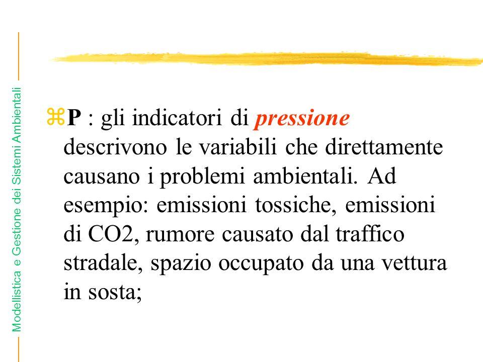 Modellistica e Gestione dei Sistemi Ambientali zP : gli indicatori di pressione descrivono le variabili che direttamente causano i problemi ambientali.