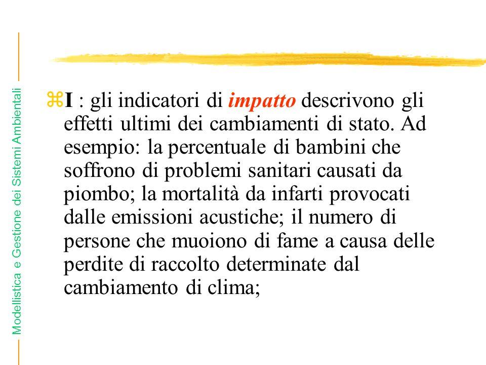Modellistica e Gestione dei Sistemi Ambientali zI : gli indicatori di impatto descrivono gli effetti ultimi dei cambiamenti di stato.