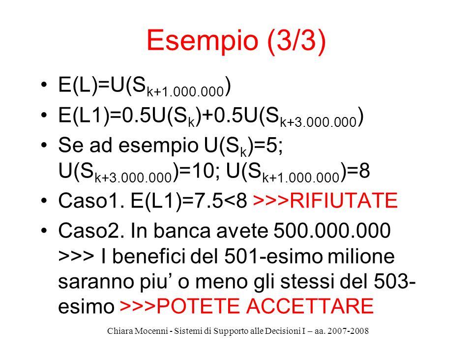 Chiara Mocenni - Sistemi di Supporto alle Decisioni I – aa. 2007-2008 E(L)=U(S k+1.000.000 ) E(L1)=0.5U(S k )+0.5U(S k+3.000.000 ) Se ad esempio U(S k