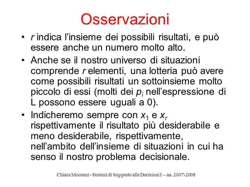 Chiara Mocenni - Sistemi di Supporto alle Decisioni I – aa. 2007-2008 Osservazioni r indica linsieme dei possibili risultati, e può essere anche un nu