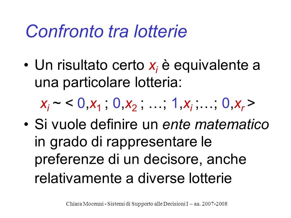 Chiara Mocenni - Sistemi di Supporto alle Decisioni I – aa. 2007-2008 Confronto tra lotterie Un risultato certo x i è equivalente a una particolare lo