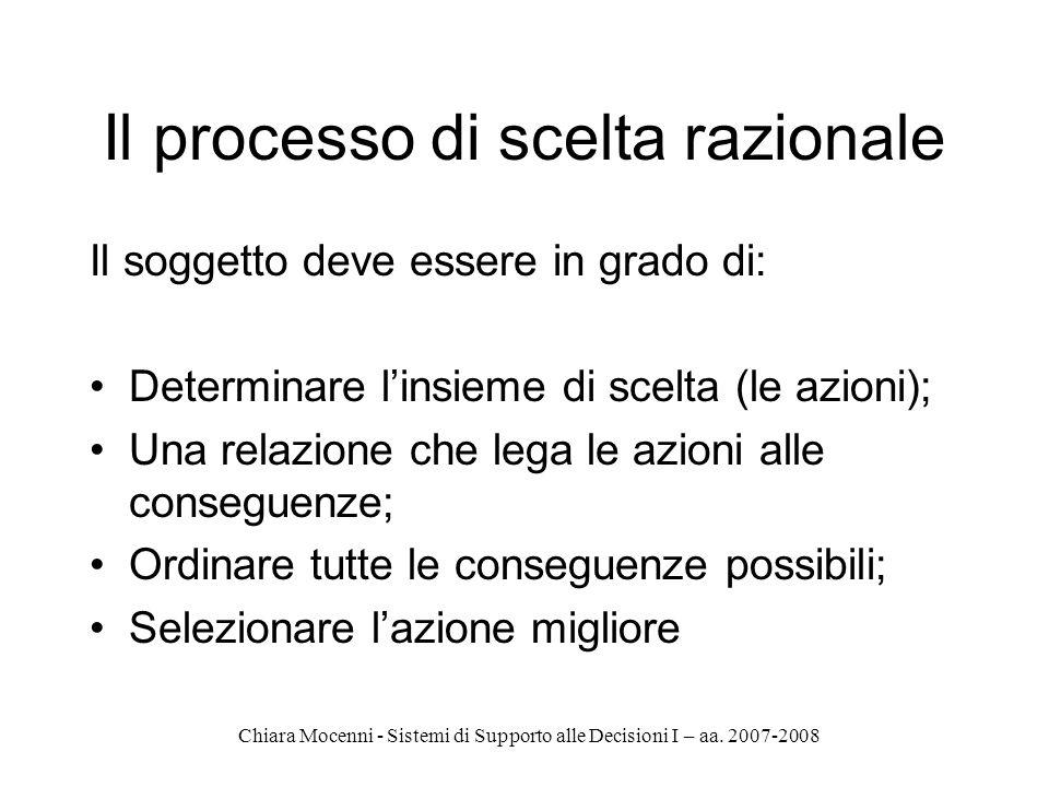 Chiara Mocenni - Sistemi di Supporto alle Decisioni I – aa. 2007-2008 Il processo di scelta razionale Il soggetto deve essere in grado di: Determinare