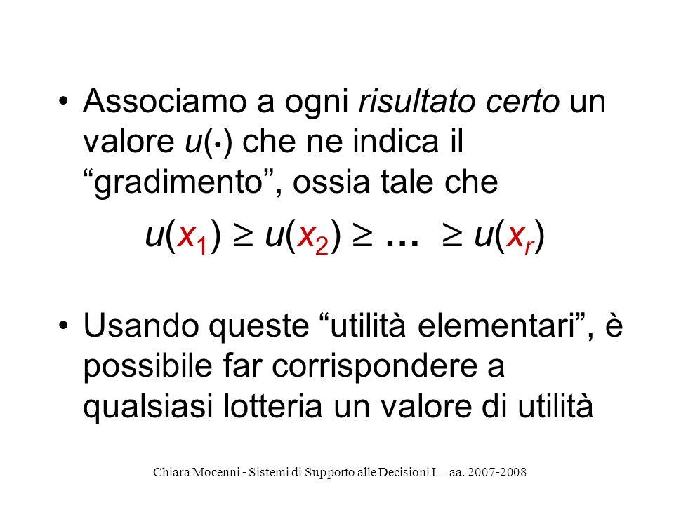 Chiara Mocenni - Sistemi di Supporto alle Decisioni I – aa. 2007-2008 Associamo a ogni risultato certo un valore u( ) che ne indica il gradimento, oss