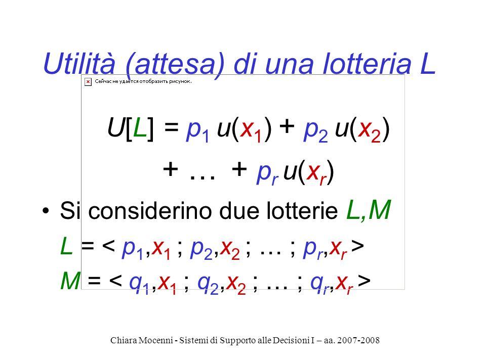 Chiara Mocenni - Sistemi di Supporto alle Decisioni I – aa. 2007-2008 Utilità (attesa) di una lotteria L U[L] = p 1 u(x 1 ) + p 2 u(x 2 ) + … + p r u(