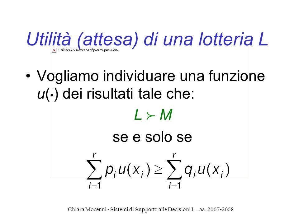 Chiara Mocenni - Sistemi di Supporto alle Decisioni I – aa. 2007-2008 Utilità (attesa) di una lotteria L Vogliamo individuare una funzione u( ) dei ri