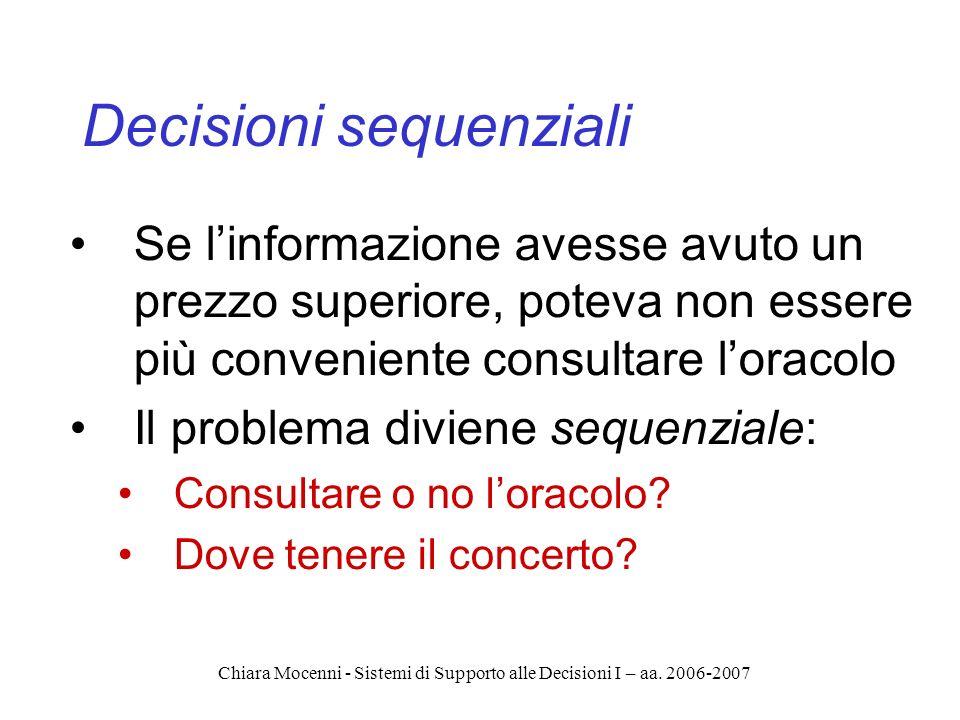 Chiara Mocenni - Sistemi di Supporto alle Decisioni I – aa. 2006-2007 Decisioni sequenziali Se linformazione avesse avuto un prezzo superiore, poteva