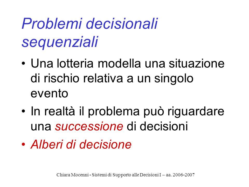Chiara Mocenni - Sistemi di Supporto alle Decisioni I – aa. 2006-2007 Problemi decisionali sequenziali Una lotteria modella una situazione di rischio