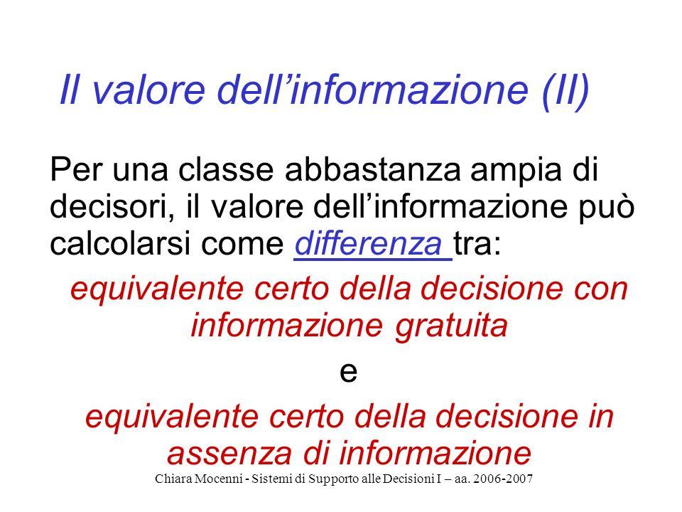 Chiara Mocenni - Sistemi di Supporto alle Decisioni I – aa. 2006-2007 Il valore dellinformazione (II) Per una classe abbastanza ampia di decisori, il