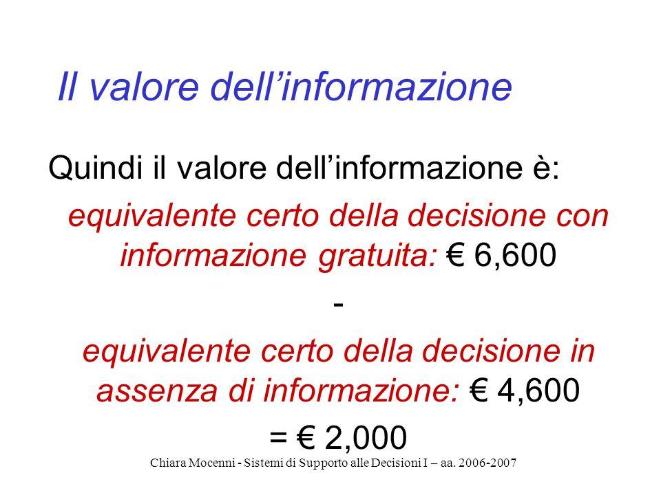 Chiara Mocenni - Sistemi di Supporto alle Decisioni I – aa. 2006-2007 Il valore dellinformazione Quindi il valore dellinformazione è: equivalente cert