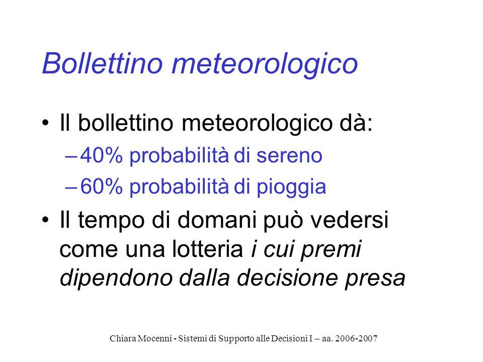 Chiara Mocenni - Sistemi di Supporto alle Decisioni I – aa. 2006-2007 Bollettino meteorologico Il bollettino meteorologico dà: –40% probabilità di ser