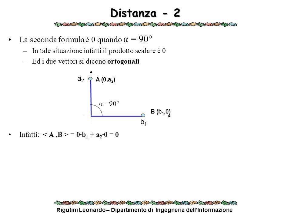 Rigutini Leonardo – Dipartimento di Ingegneria dellInformazione Distanza - 2 La seconda formula è 0 quando α = 90° –In tale situazione infatti il prod