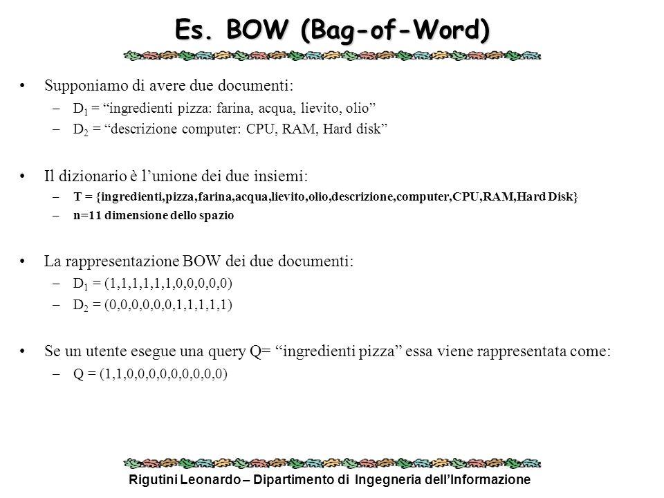 Rigutini Leonardo – Dipartimento di Ingegneria dellInformazione Es. BOW (Bag-of-Word) Supponiamo di avere due documenti: –D 1 = ingredienti pizza: far