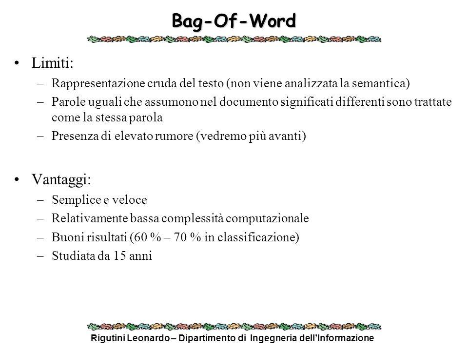 Rigutini Leonardo – Dipartimento di Ingegneria dellInformazione Bag-Of-Word Limiti: –Rappresentazione cruda del testo (non viene analizzata la semanti