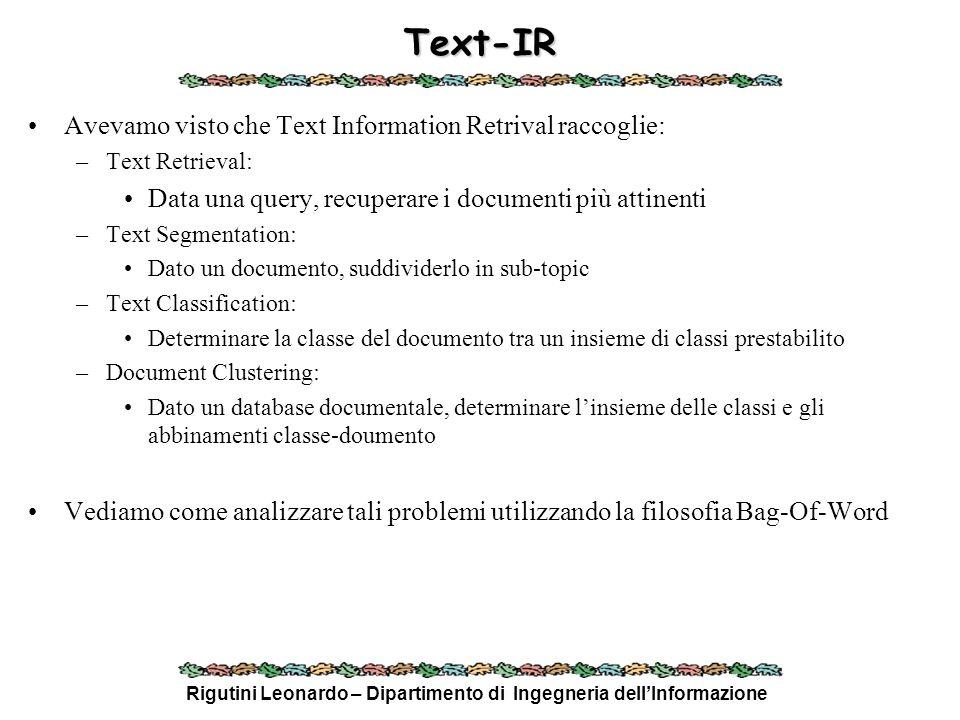 Rigutini Leonardo – Dipartimento di Ingegneria dellInformazione Text-IR Avevamo visto che Text Information Retrival raccoglie: –Text Retrieval: Data u