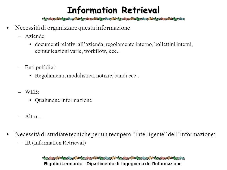 Rigutini Leonardo – Dipartimento di Ingegneria dellInformazione Vector Space Model Un documento è visto come un punto (vettore) nello spazio delle parole del dizionario (feature): –D i = ( w i,1, w i,2, w i,3, …, w i,n ) Ogni termine w i,k è il peso della parola k nel documento i: 1.