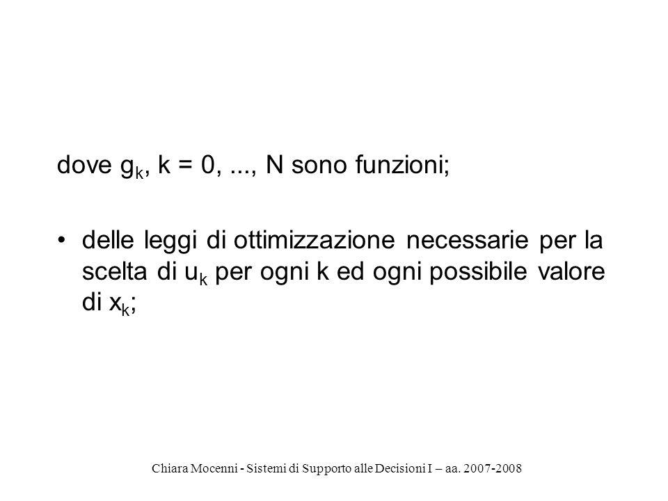 Chiara Mocenni - Sistemi di Supporto alle Decisioni I – aa. 2007-2008 dove g k, k = 0,..., N sono funzioni; delle leggi di ottimizzazione necessarie p