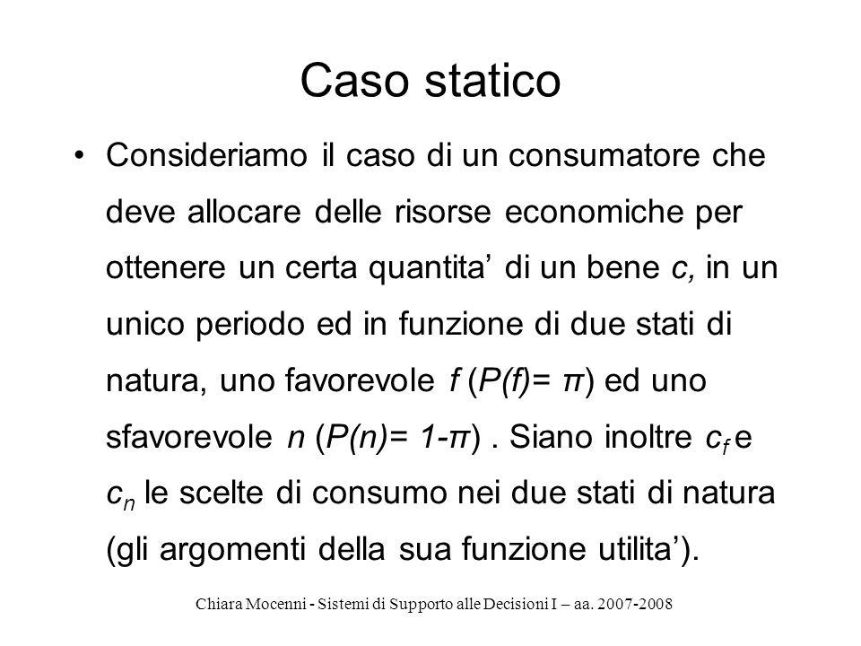 Chiara Mocenni - Sistemi di Supporto alle Decisioni I – aa. 2007-2008 Caso statico Consideriamo il caso di un consumatore che deve allocare delle riso