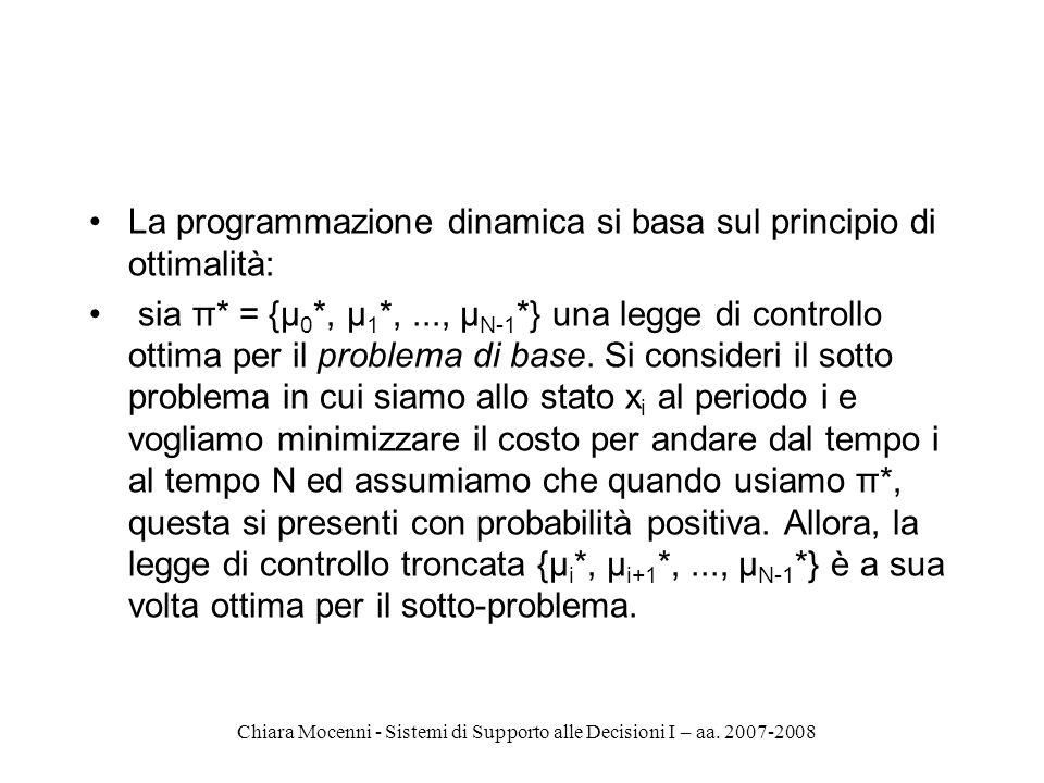 Chiara Mocenni - Sistemi di Supporto alle Decisioni I – aa. 2007-2008 La programmazione dinamica si basa sul principio di ottimalità: sia π* = {μ 0 *,