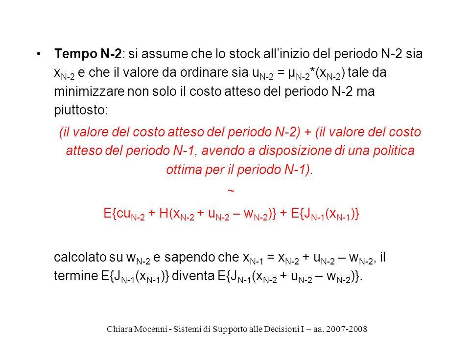 Chiara Mocenni - Sistemi di Supporto alle Decisioni I – aa. 2007-2008 Tempo N-2: si assume che lo stock allinizio del periodo N-2 sia x N-2 e che il v