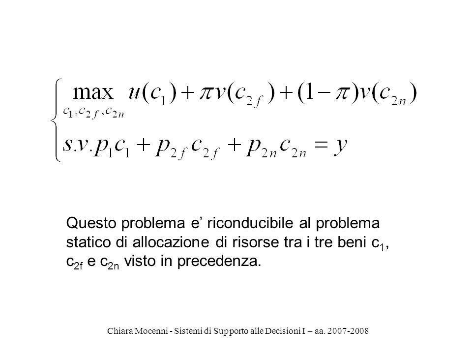 Chiara Mocenni - Sistemi di Supporto alle Decisioni I – aa. 2007-2008 Questo problema e riconducibile al problema statico di allocazione di risorse tr