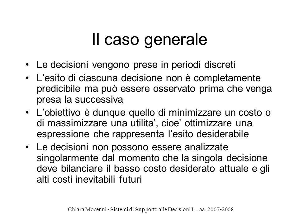 Chiara Mocenni - Sistemi di Supporto alle Decisioni I – aa. 2007-2008 Il caso generale Le decisioni vengono prese in periodi discreti Lesito di ciascu