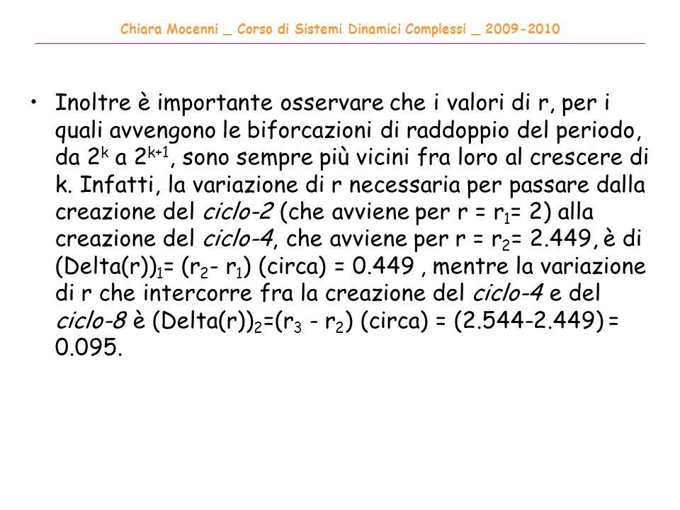 Chiara Mocenni _ Corso di Sistemi Dinamici Complessi _ 2009-2010 ______________________________________________________________________________________ Inoltre è importante osservare che i valori di r, per i quali avvengono le biforcazioni di raddoppio del periodo, da 2 k a 2 k+1, sono sempre più vicini fra loro al crescere di k.