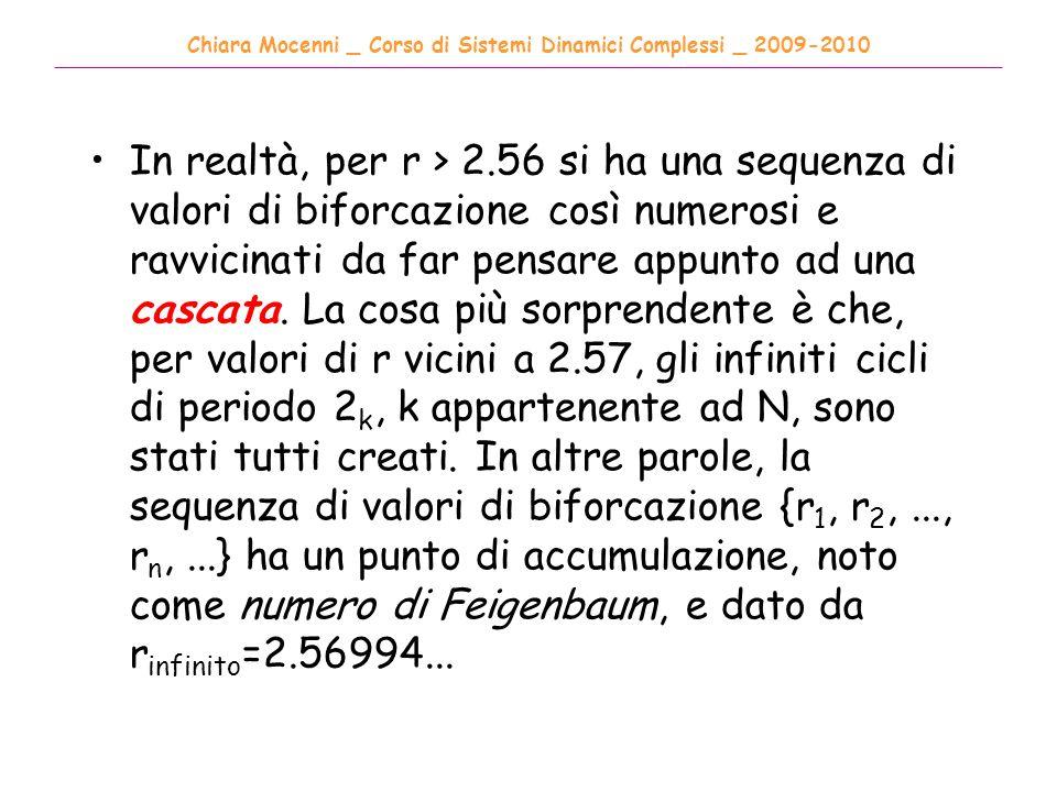 Chiara Mocenni _ Corso di Sistemi Dinamici Complessi _ 2009-2010 ______________________________________________________________________________________ In realtà, per r > 2.56 si ha una sequenza di valori di biforcazione così numerosi e ravvicinati da far pensare appunto ad una cascata.