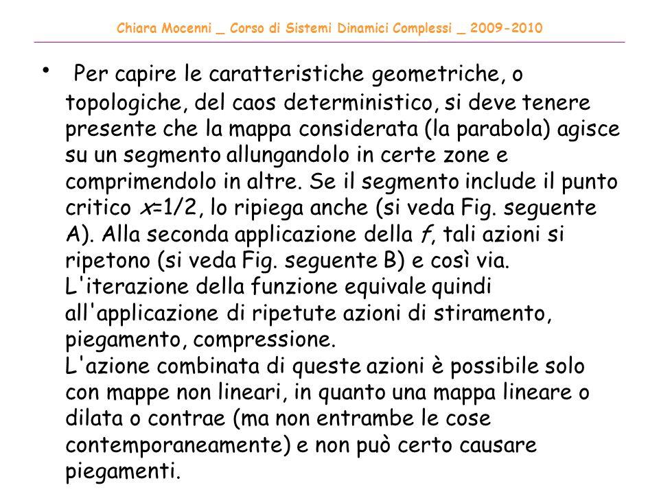 Chiara Mocenni _ Corso di Sistemi Dinamici Complessi _ 2009-2010 ______________________________________________________________________________________ Per capire le caratteristiche geometriche, o topologiche, del caos deterministico, si deve tenere presente che la mappa considerata (la parabola) agisce su un segmento allungandolo in certe zone e comprimendolo in altre.