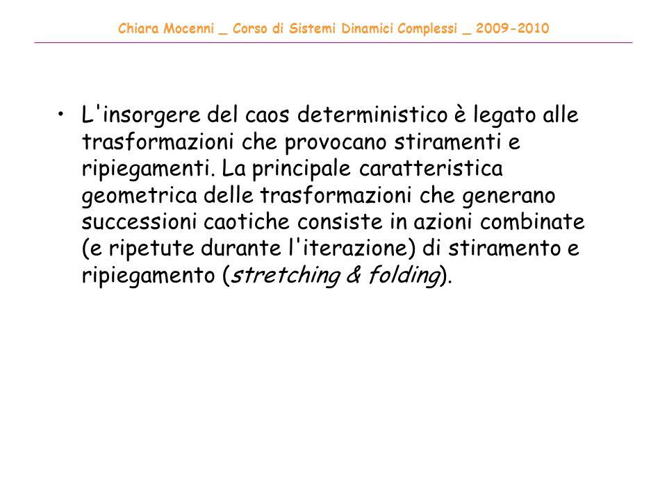 Chiara Mocenni _ Corso di Sistemi Dinamici Complessi _ 2009-2010 ______________________________________________________________________________________ L insorgere del caos deterministico è legato alle trasformazioni che provocano stiramenti e ripiegamenti.
