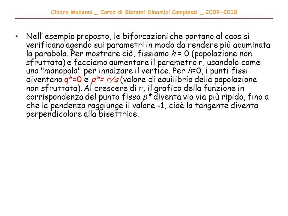 Chiara Mocenni _ Corso di Sistemi Dinamici Complessi _ 2009-2010 ______________________________________________________________________________________ Nell esempio proposto, le biforcazioni che portano al caos si verificano agendo sui parametri in modo da rendere più acuminata la parabola.