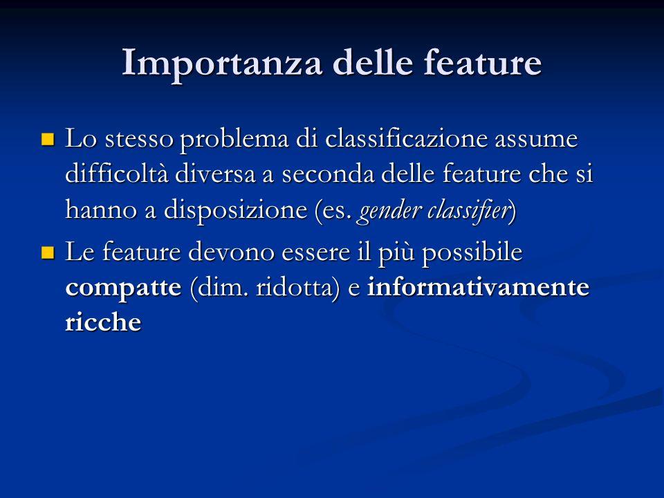 Importanza delle feature Lo stesso problema di classificazione assume difficoltà diversa a seconda delle feature che si hanno a disposizione (es. gend